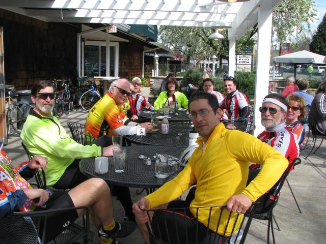 Davis Bike Club at Karen's Bakery in Historic Folsom