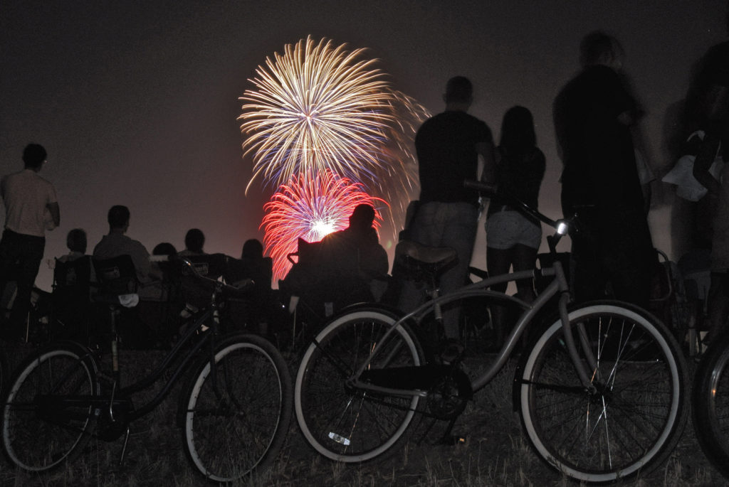 fireworks at levee